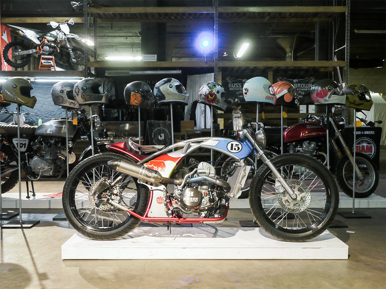 Rooke Customs' entry shines in all it glory. One of the first bikes you came across as you entered the One Moto show.
