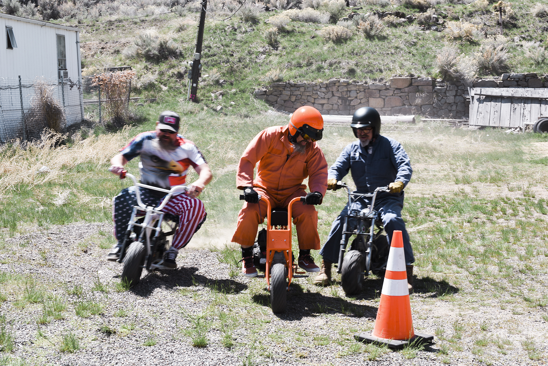 Mini-bike madness. The field bunches up going into turn two during practice. Left to right: Hunter Bender, Dean Anderson and Mike Blanchard.