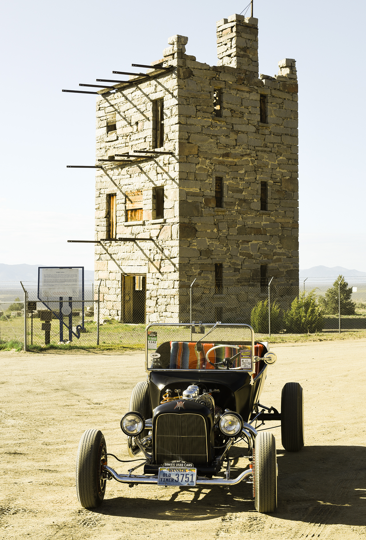 Jerry Foreman's roadster looking good in front of Stokes Castle. Jerry and his wife were married on this very spot.