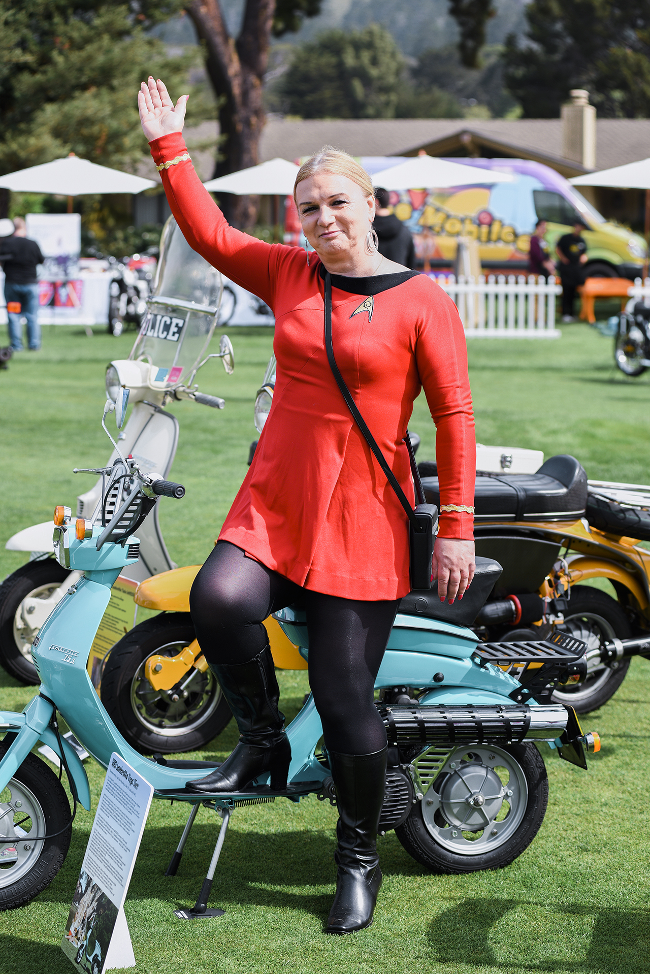 Lambretta collector and historian Siobhán Ellis of San Jose with her amazing Lamby Vega. This bike was the original bike that the factory used in Australia as the press bike.