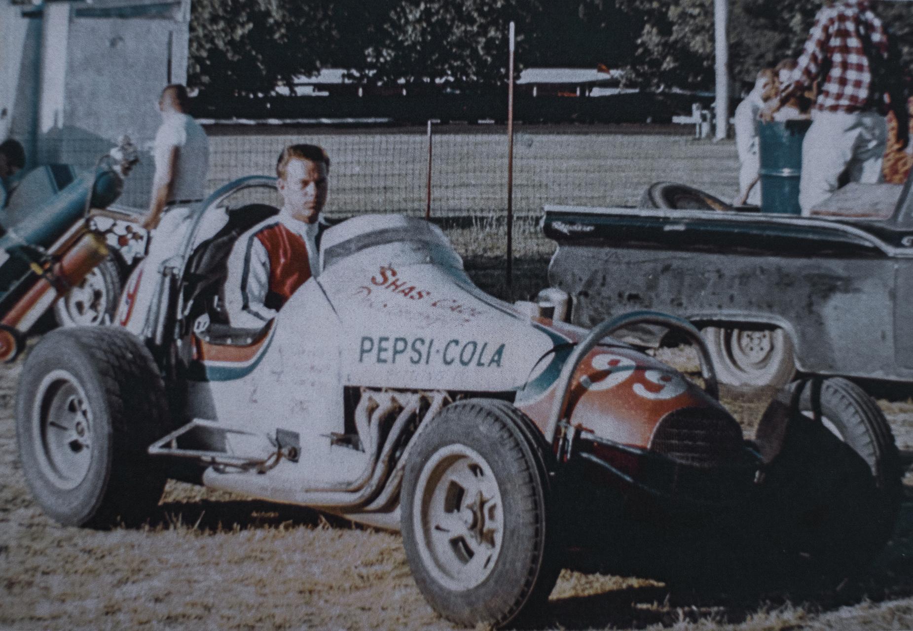 Boyd in a sprint car, Calistoga Speedway, 1967.