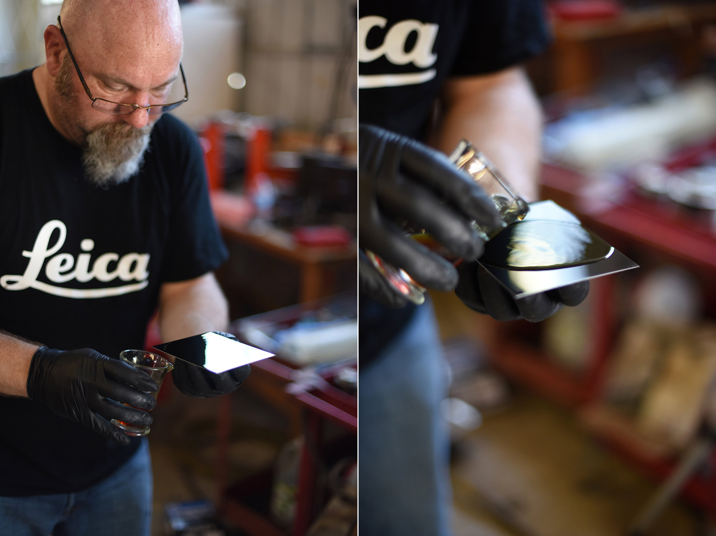 Abbott pours Collodion on the tin plate and rocks it gently to spread it evenly on the surface.