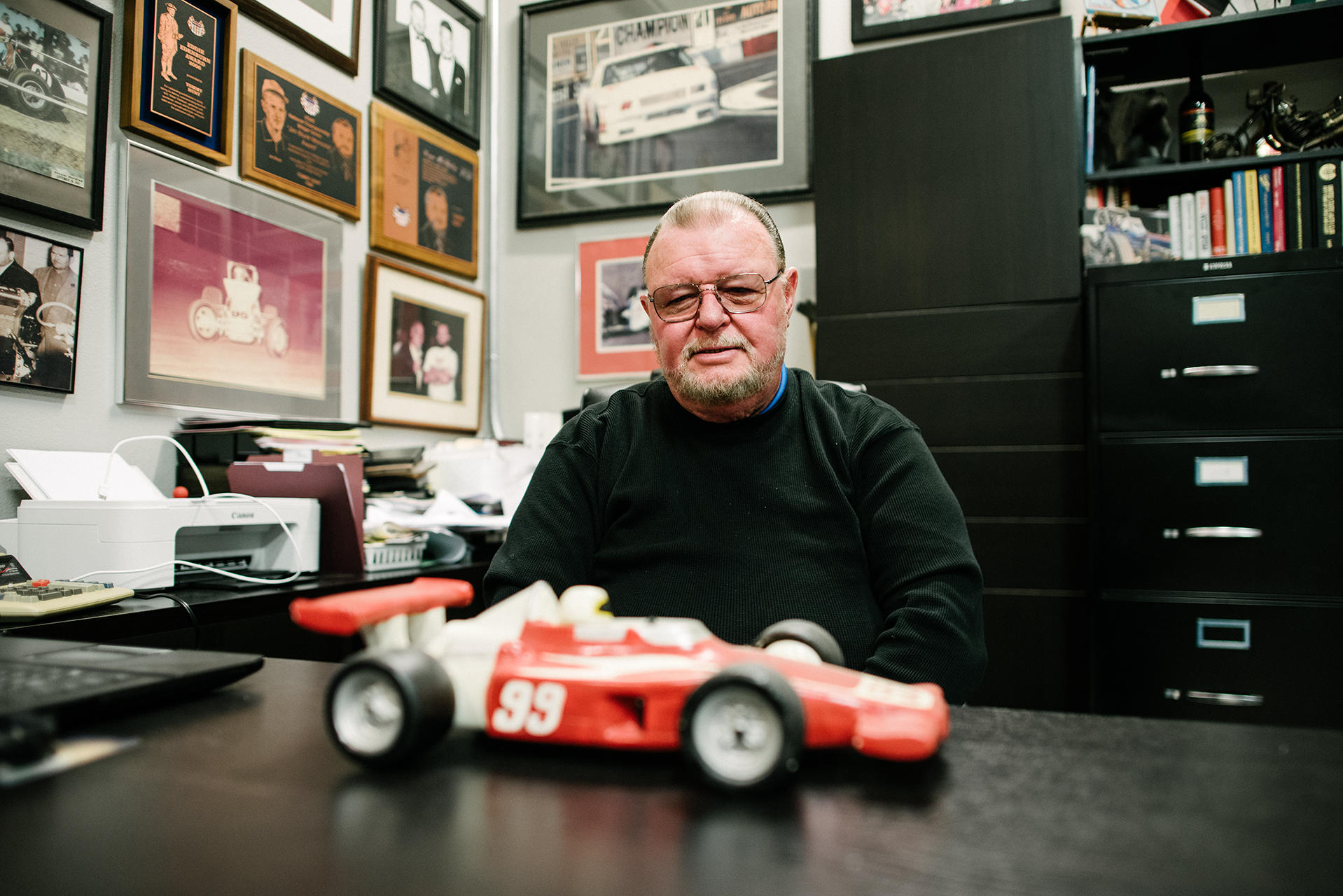 Childhood memories: Tommy Hunt admires an Indy Car model that he built for his dad, Joe Hunt.
