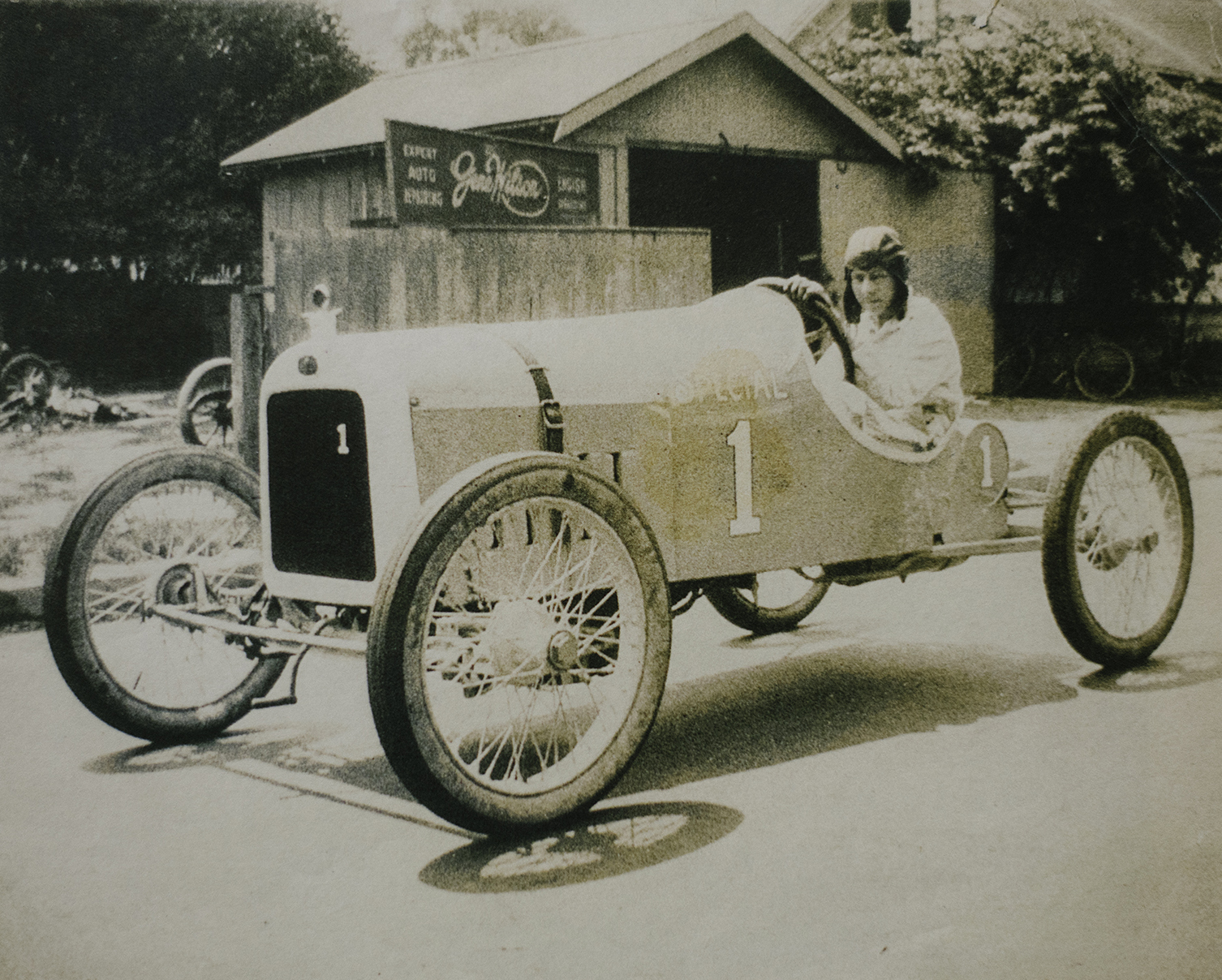 "Gene Rapp in the ""Rapp Special"" big car, 1923. (Rapp family archive)"