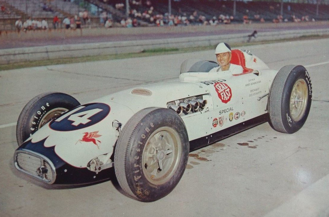 Fred Agabashian in George Bignotti's Bowes Seal Fast Kurtis Kraft Special at the 1957 Indianapolis 500.