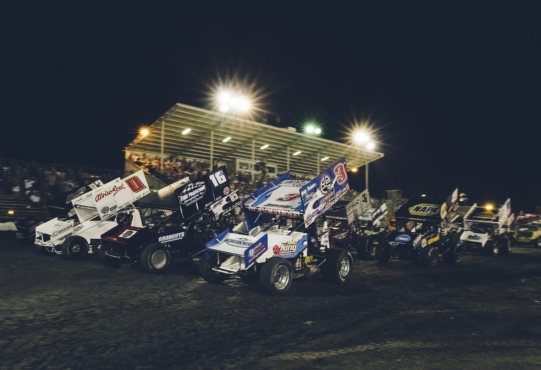 "Tim (3) and Bud (0) on the front row during a four-wide ""salute"" at Chico, CA, for the Gold Cup Race of Champions, 2018."