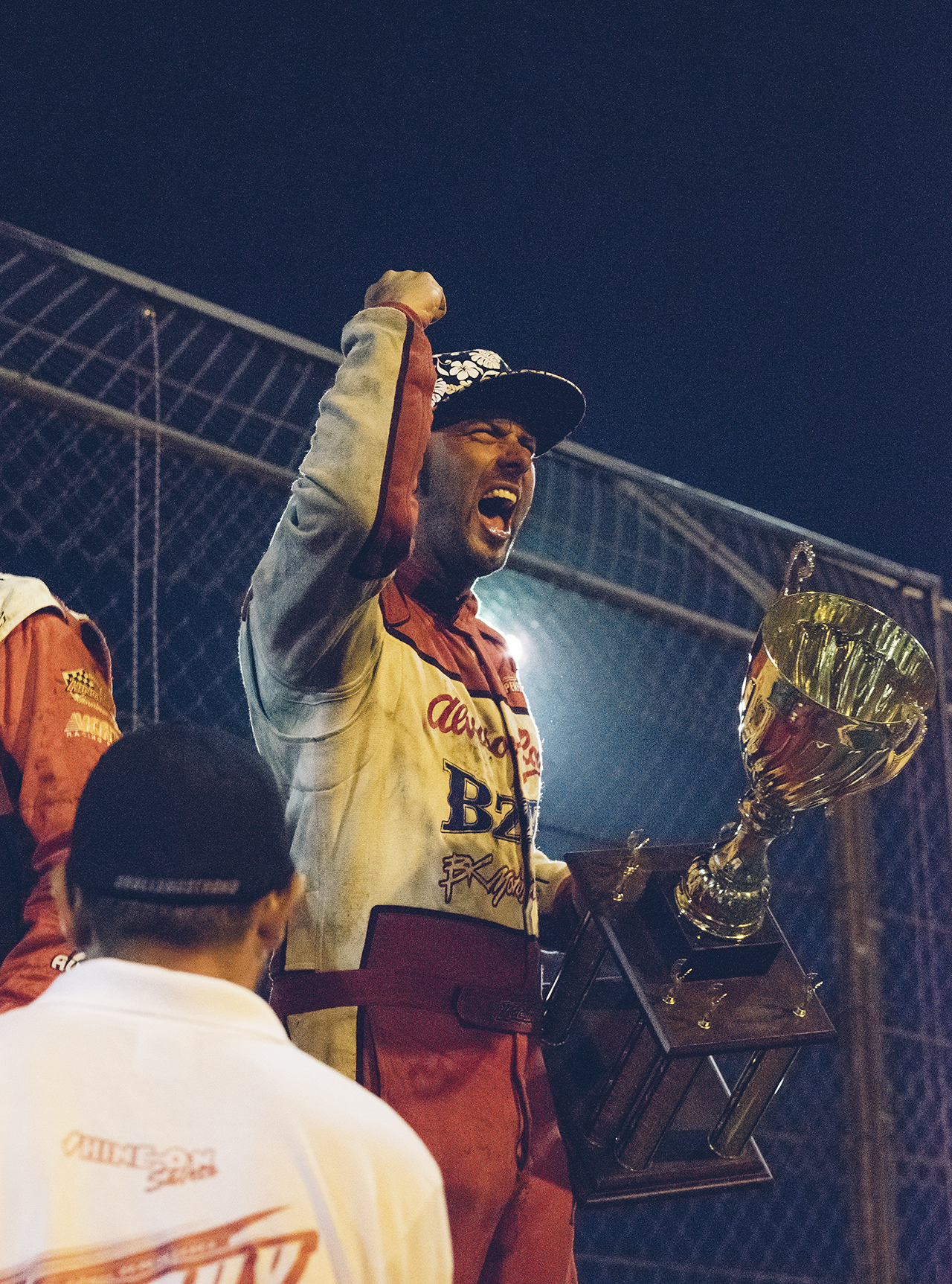 Victory is sweet. Bud whoops after winning Trophy Cup at Tulare, 2015. The Kaeding drivers have a combined total of eight victories in the prestigious event.