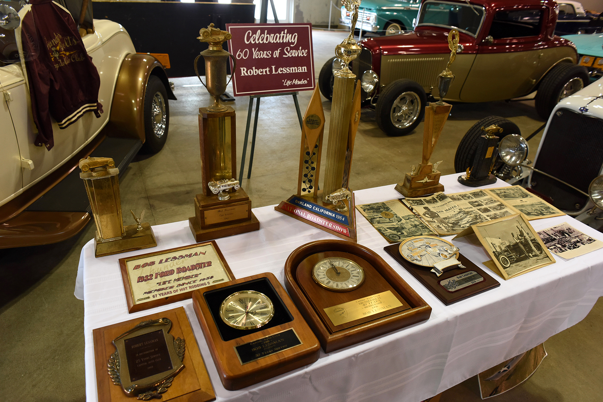 The Thunderbolts car club had a great display honoring Robert Lessman.