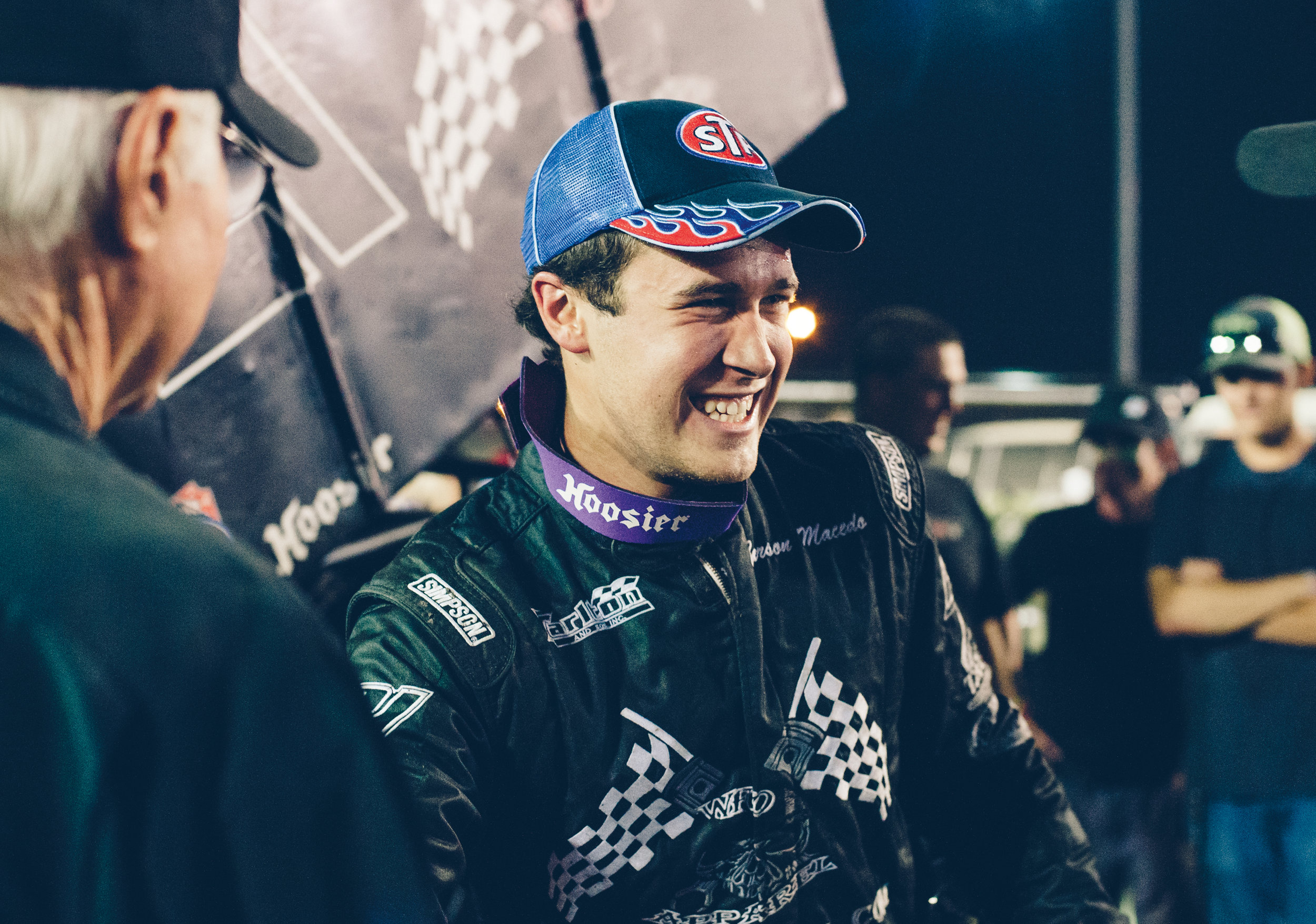 After winning the first night of the 2014 Gold Cup at Chico, 18-year-old Macedo celebrates his first Outlaw series victory.