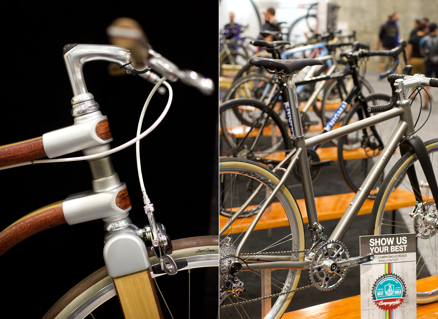 The stunning wooden bike from Atelier Kinopio juxtaposed with a lineup of more traditional builds entered in the Campagnolo Build contest held for bikes made using components from the legendary Italian maker.