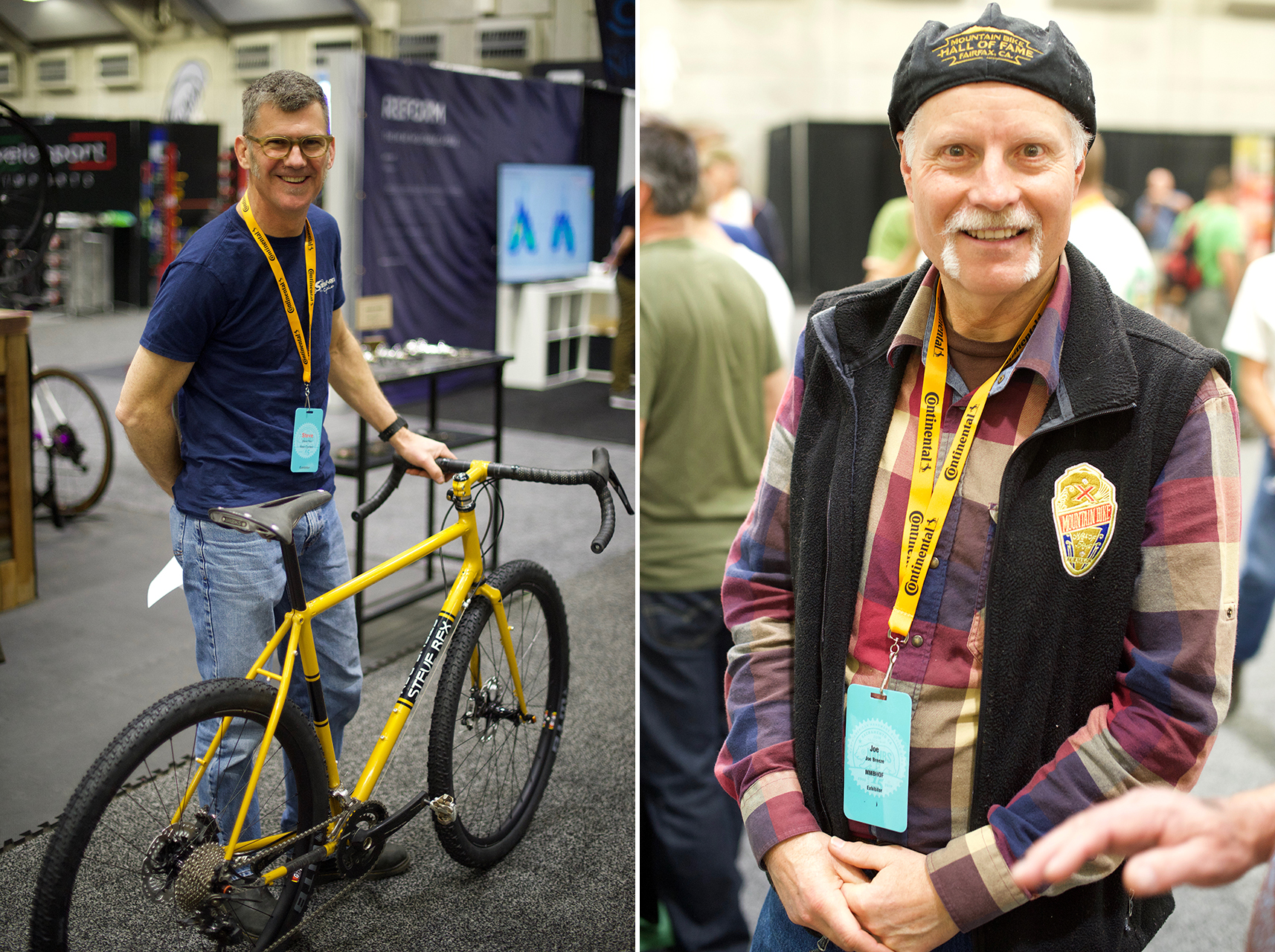 L to R. Frame builder Steve Rex caught in the act of wheeling his gravel bike off for judging. His city bike won best in its class. Mountain bike legend Joe Breeze was hanging out at the Marin Mountain Bike Museum booth visiting with friends and telling stories.