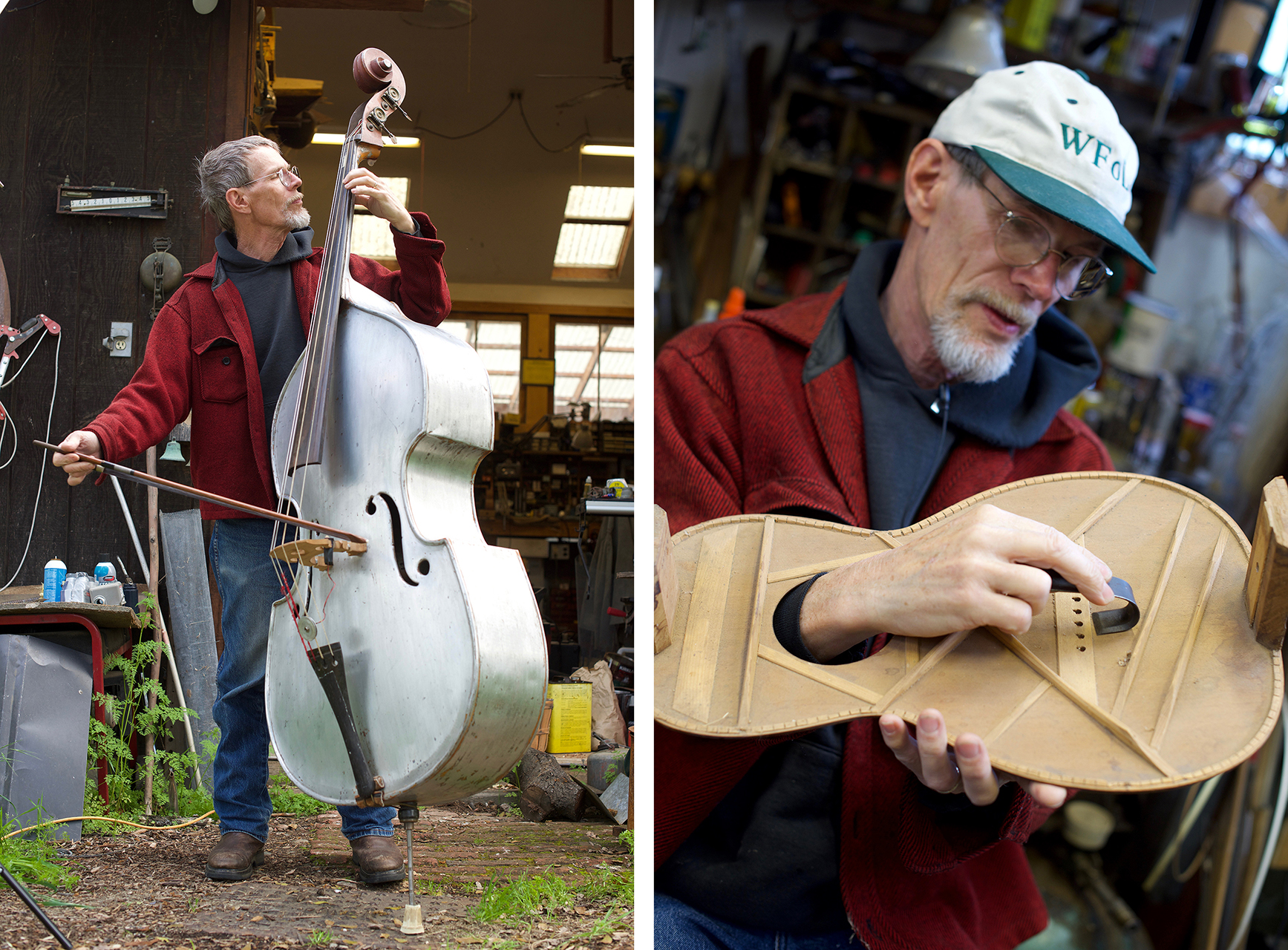 Cary is an accomplished bass player and multi-instrumentalist. He uses the top of a 1920s Martin guitar to demonstrate a special tool he made for removing bridge plates and bracing without detaching the top of an instrument from the body.