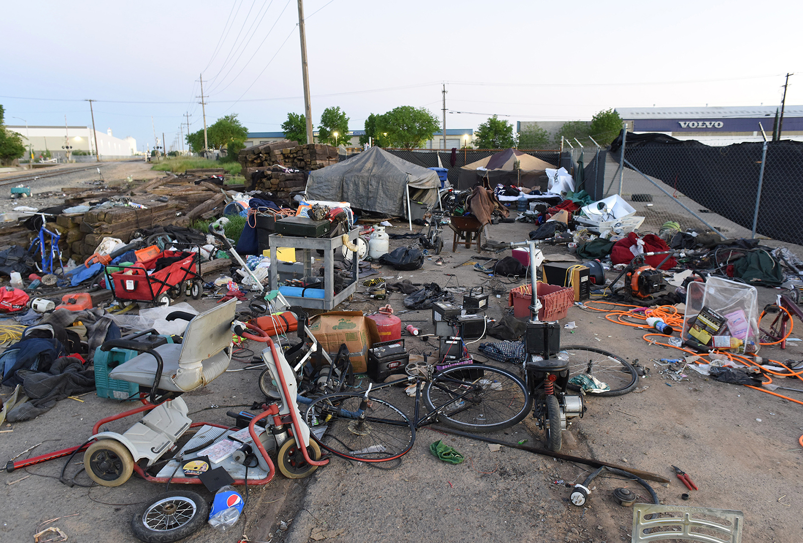 A homeless camp on the railroad right of way near Fruitridge Road. Lance visited this camp searching for his motorcycle.