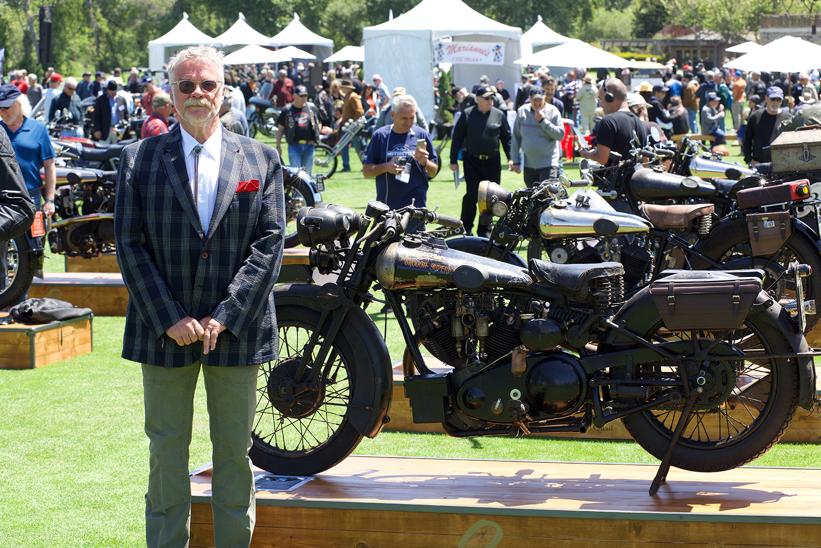 Bryan Bossier in front of his 1929 Brough Superior 680 which won the HVA Preservation Award. This is one of six Broughs that he brought to the party.