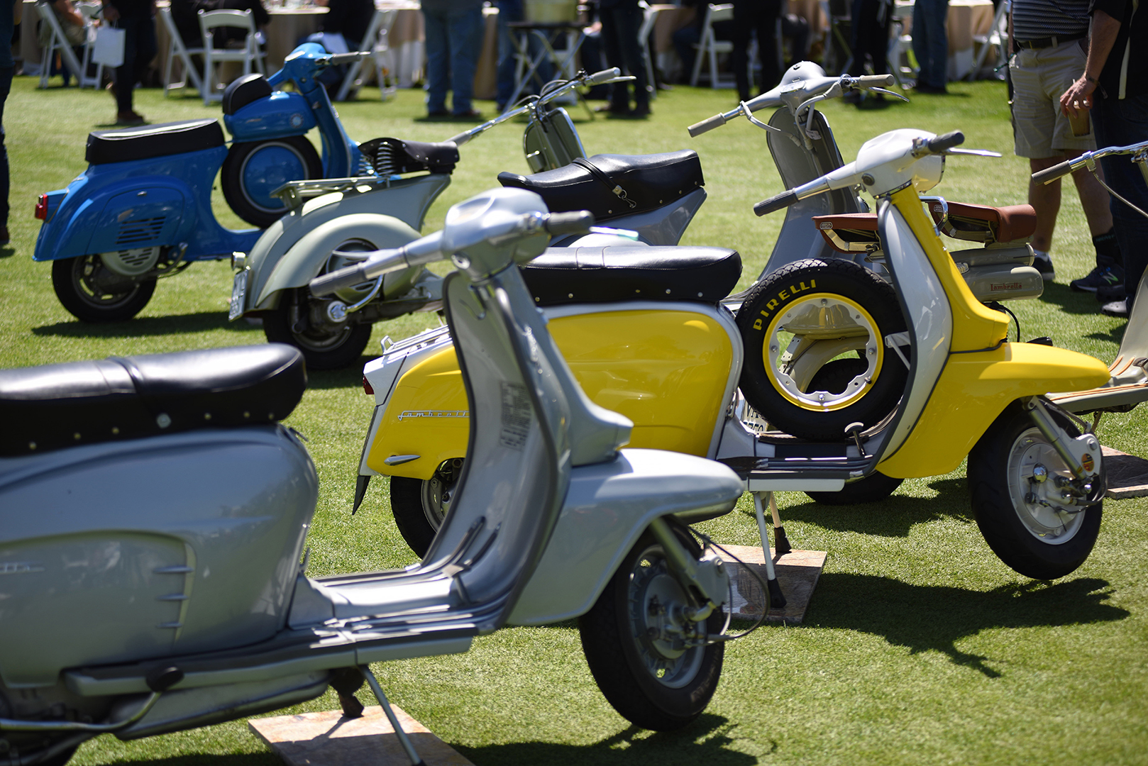 Scooters are a big part of the Quail Motorcycle Gathering. These Vespas and Lambrettas are part of the Gianluca Baldo collection.