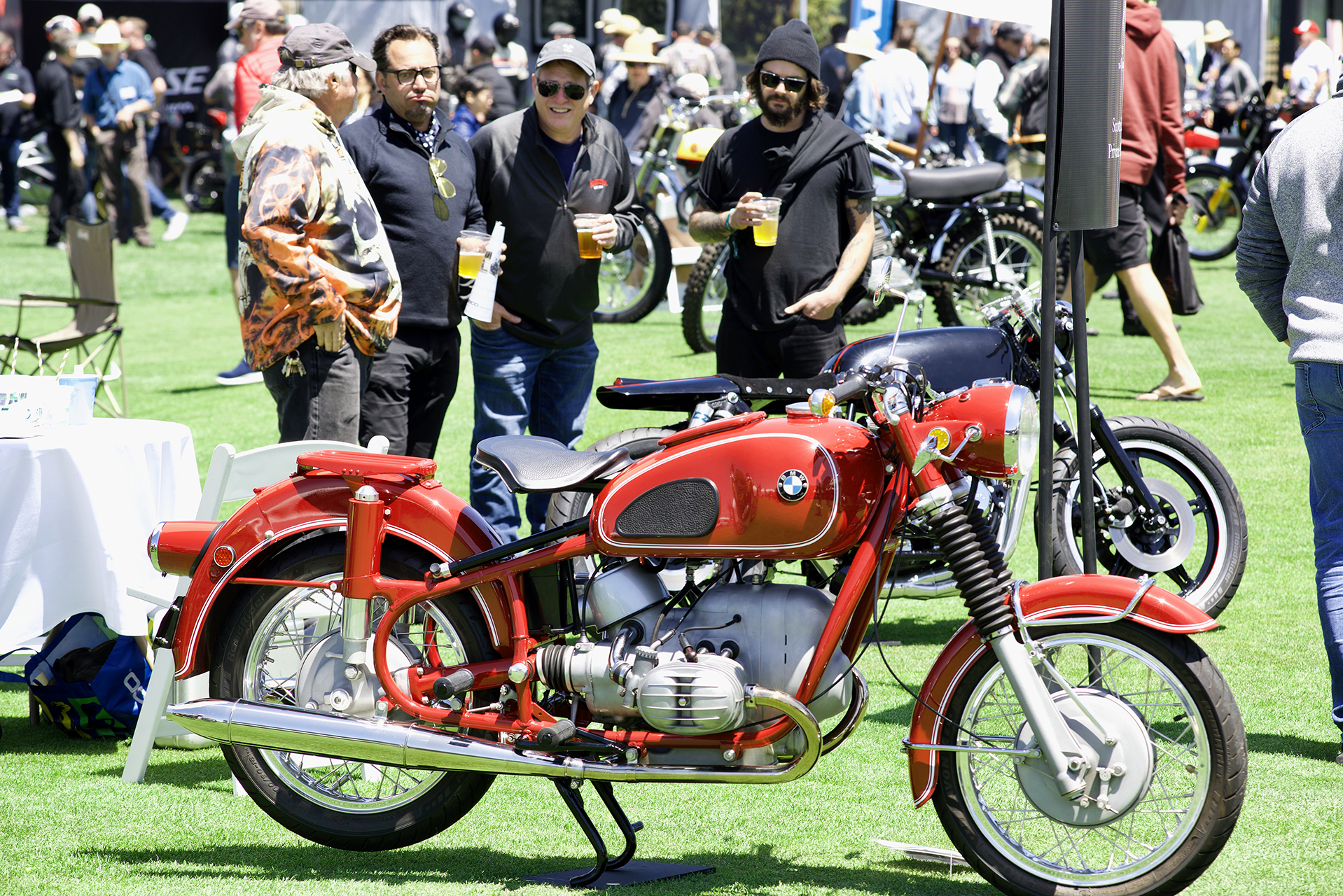 The three Bs: Beers, bikes, buddies…and an unusual red BMW