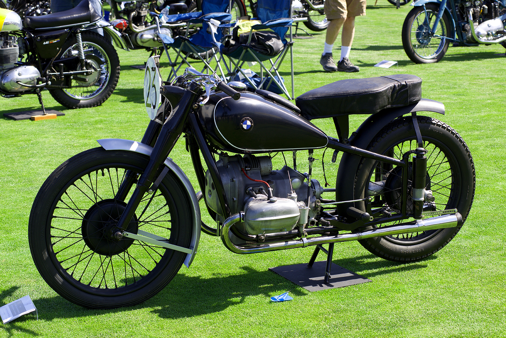 One of the most historically significant motorcycles at the Quail was Michael Nelson's 1938 BMW R51SS Rennsport Grand Prix racer ridden by Brit Tim Reid at the Isle of Mann TT in 1939.