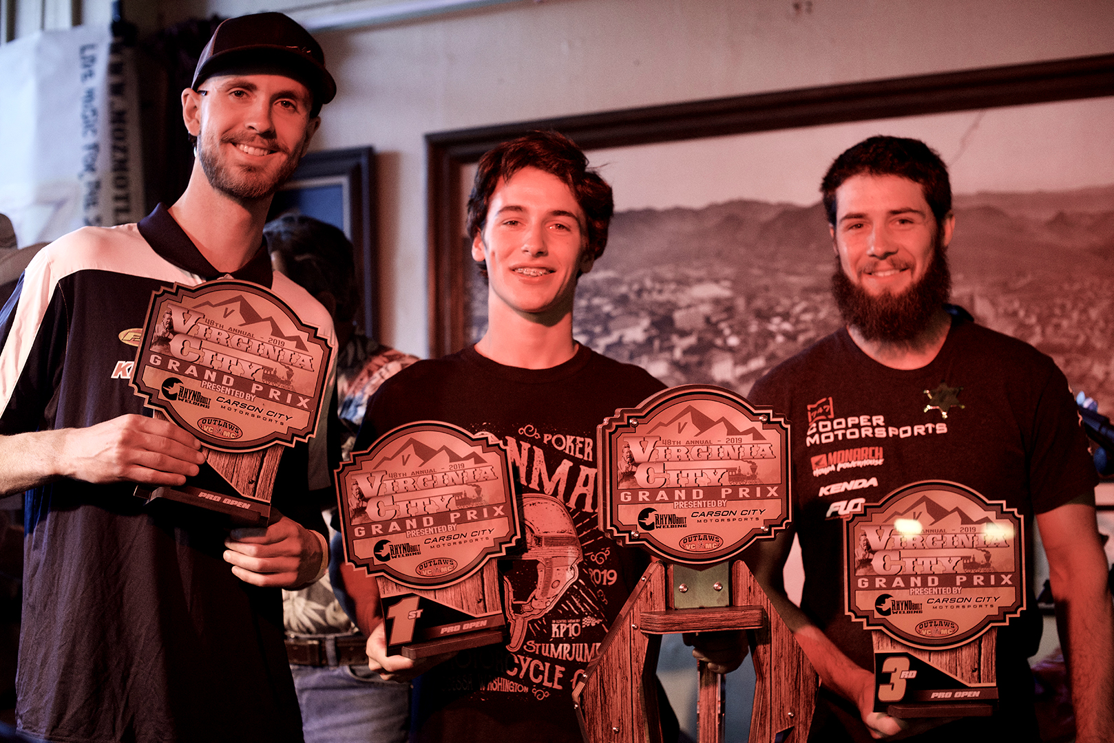 L. to R. Pro Open overall winners: Zane Roberts, 2nd place; Dante Oliveira, 1st place; Ross Neely, 3rd place.