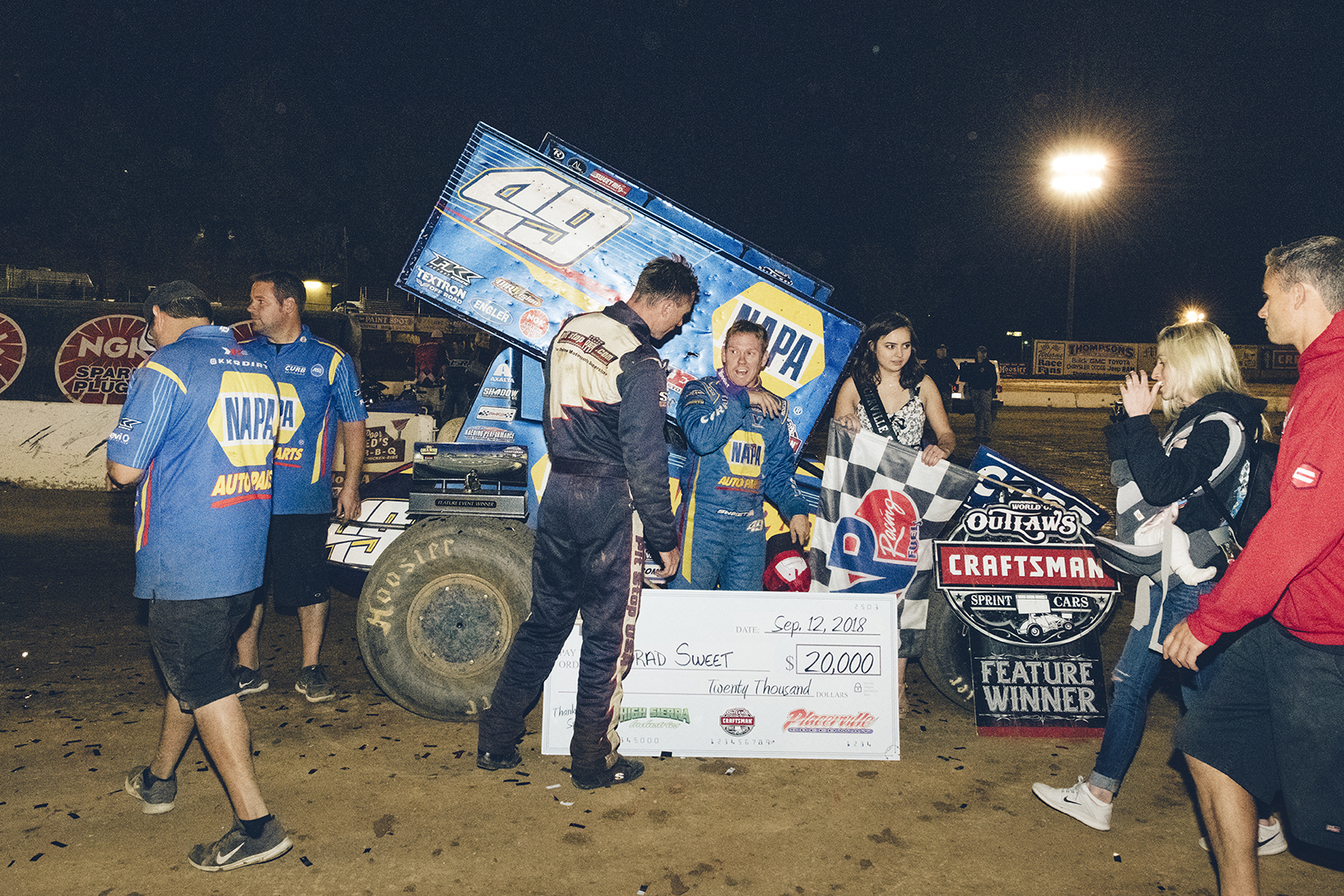 Andy talks with Brad Sweet after winning a World of Outlaws event at Placerville Speedway in 2018.