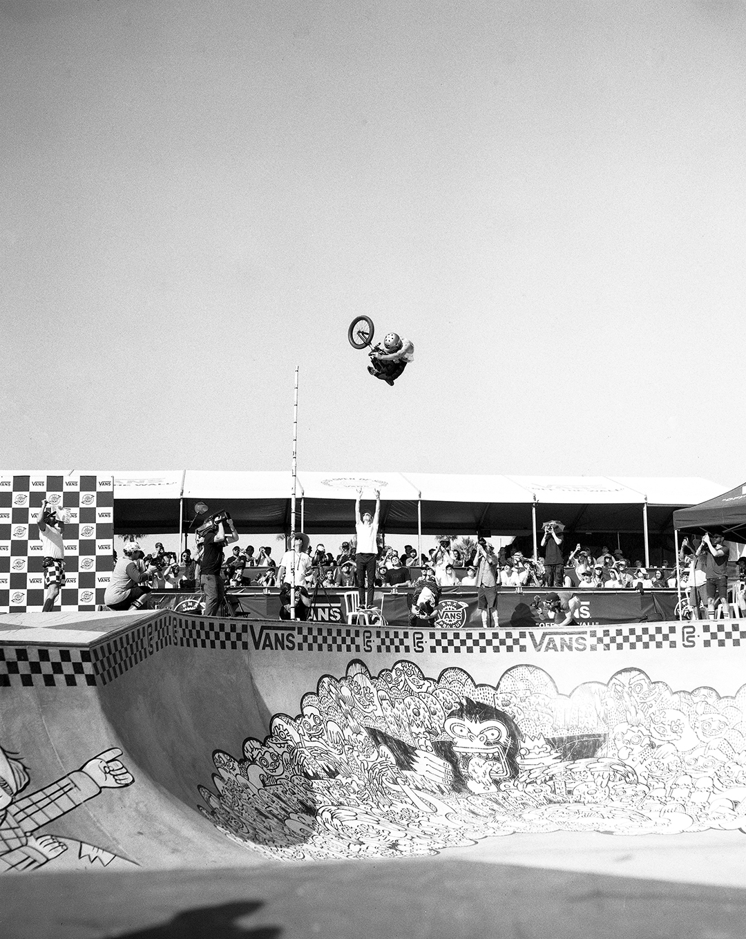 This photo was taken using a Graflex Speed Graphic 4x5 on Kodak Tmax 100. The rider is Larry Edgar at the 2017 Vans BMX Pro Cup during the high air contest. Larry has blown up on the scene as the undisputed king of high airs and this image is exactly why. If you look closely you will see the previous high air champ standing on a chair with his arms extended and still nowhere near reaching Larry.