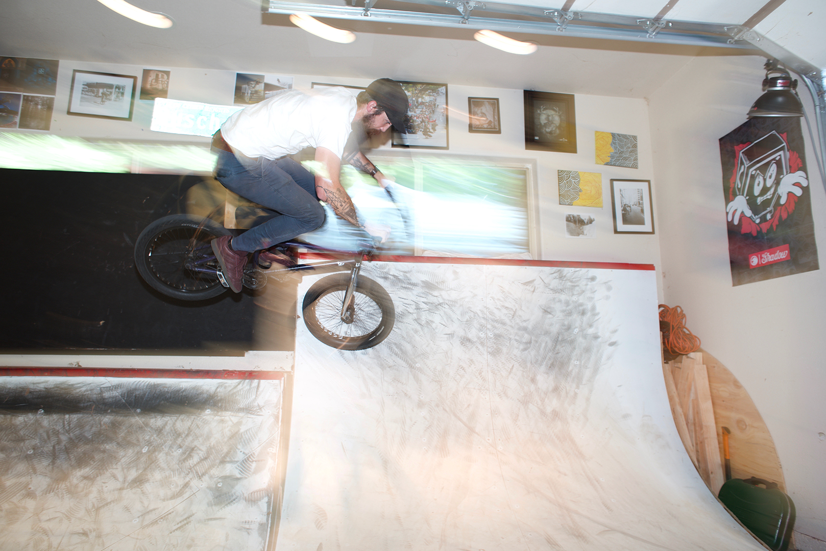 Travis getting some air in the improbably tight confines of his garage.