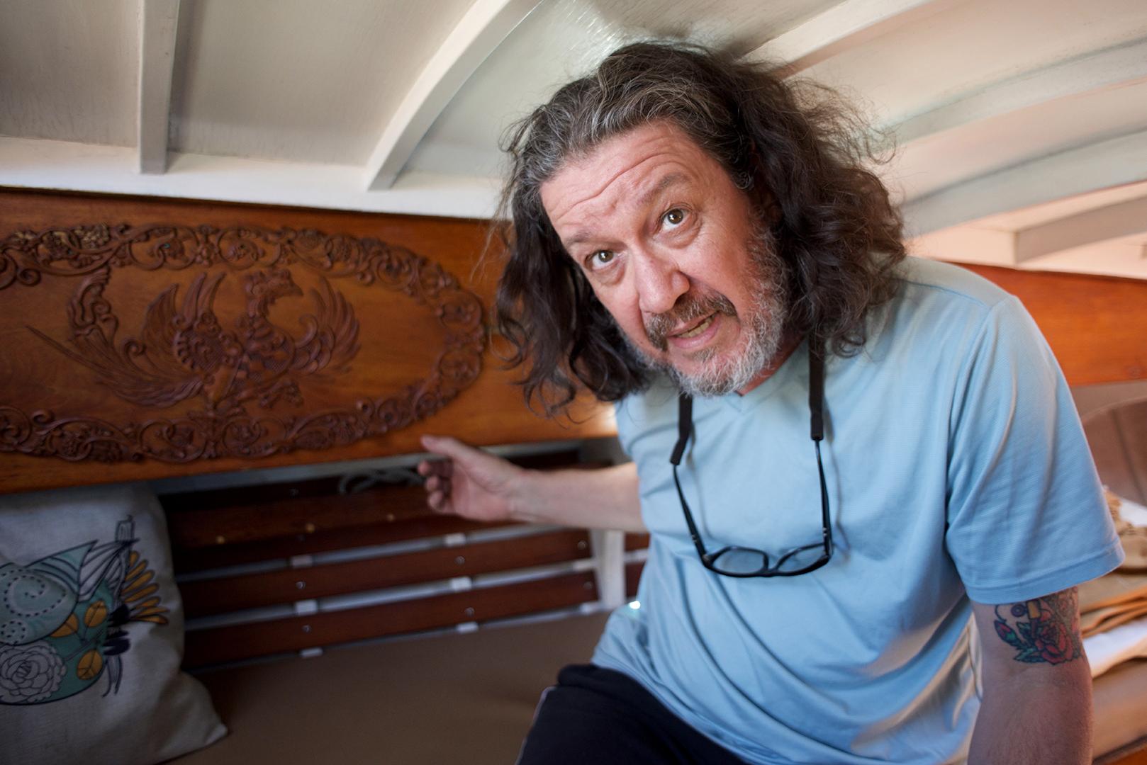 David Perry aboard his vintage sailboat. (Mike Blanchard photo)
