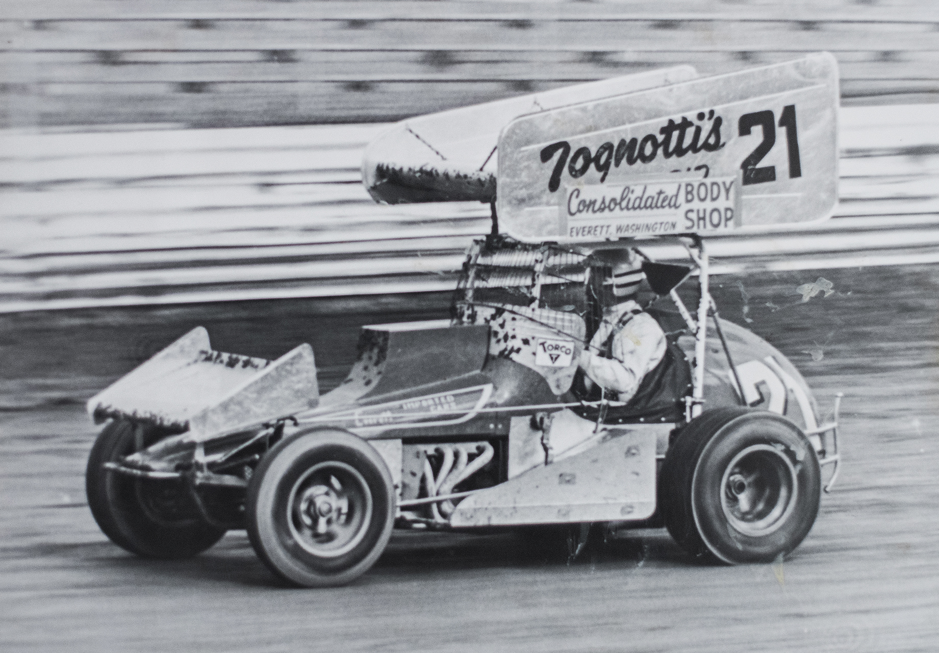 Jimmy Boyd at the wheel of the Sacramento-based, Kenny Woodruff-owned sprint car, 1978.