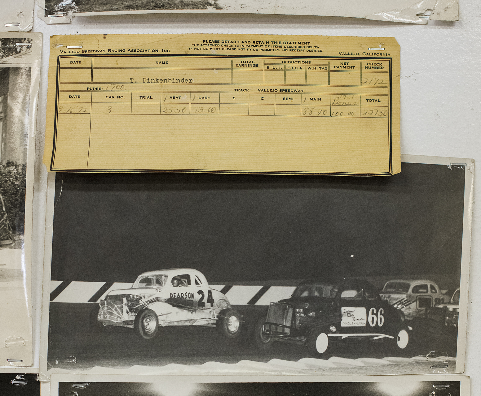 """A 1972 check from Vallejo Speedway shows a $100 passing bonus. """"That's pretty good money for 1972,"""" says Finkenbinder."""