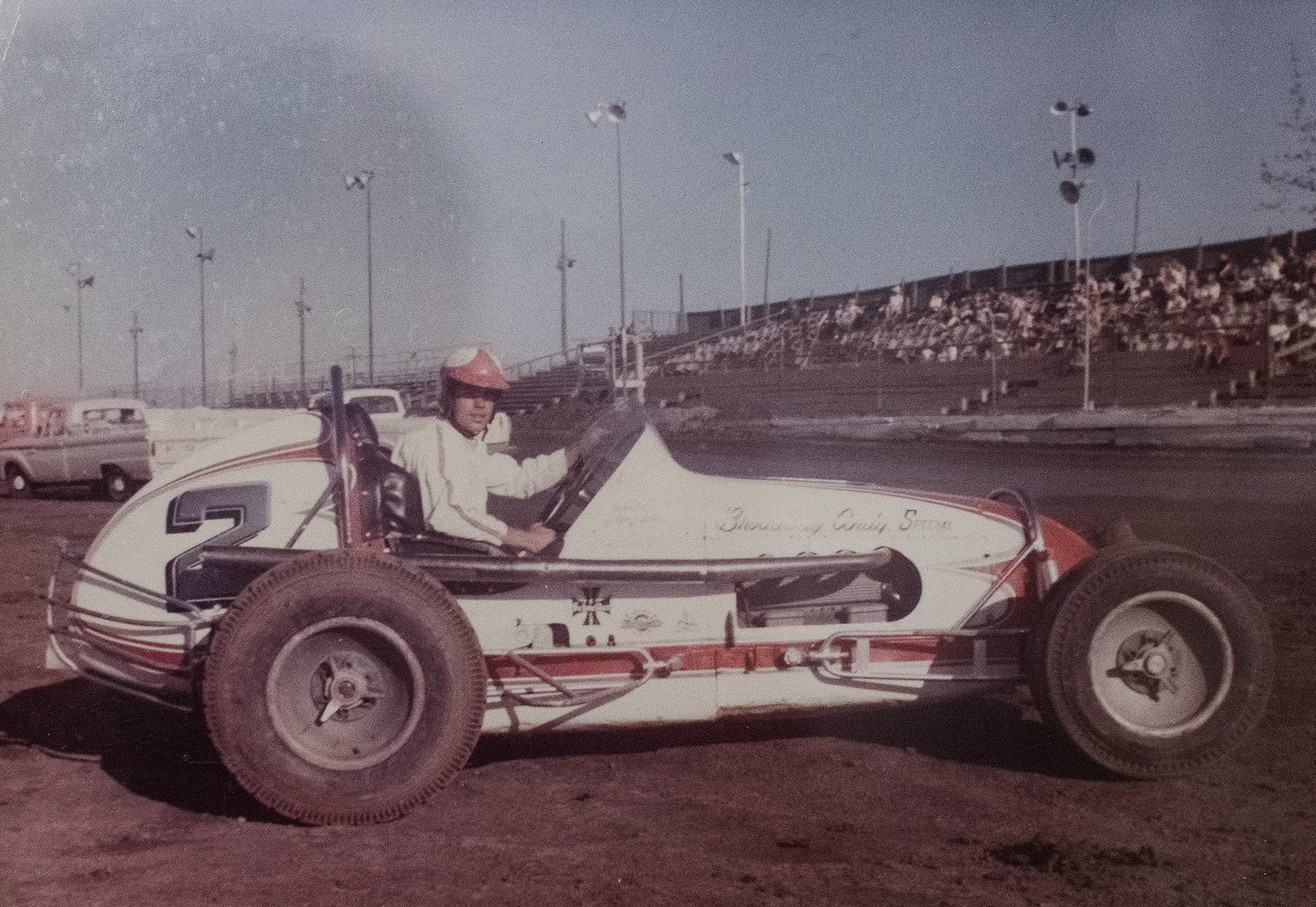 Teenager Anderson at the wheel of his first sprint car. (Archive photo)
