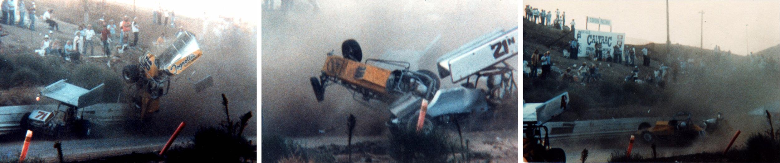 Johnny's sprint car crashes at Corona Raceway, November, 3, 1980. (Archive photos)