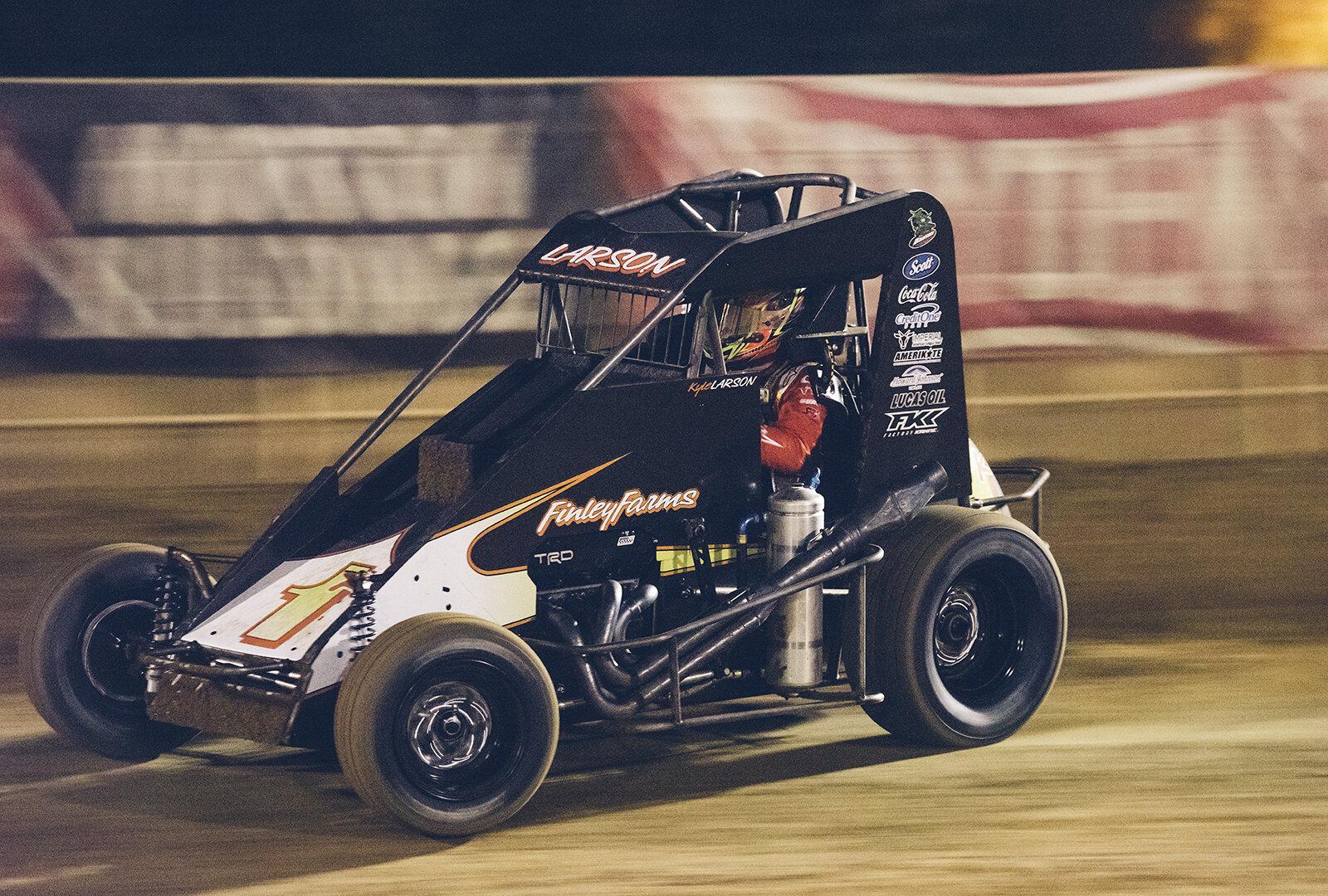 Larson races the new midget at Placerville.