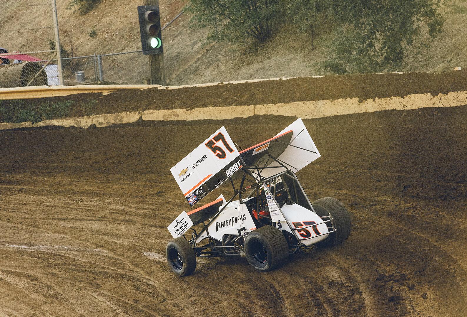 Larson makes a qualifying run in the Sylva sprint car.