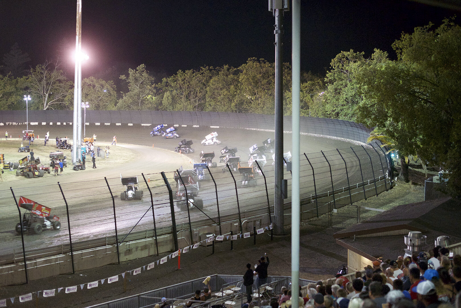 Rico Abreu pulling away on a restart as the field slides through turns one and two chasing him. Abreu was the class of the feature event and won going away.