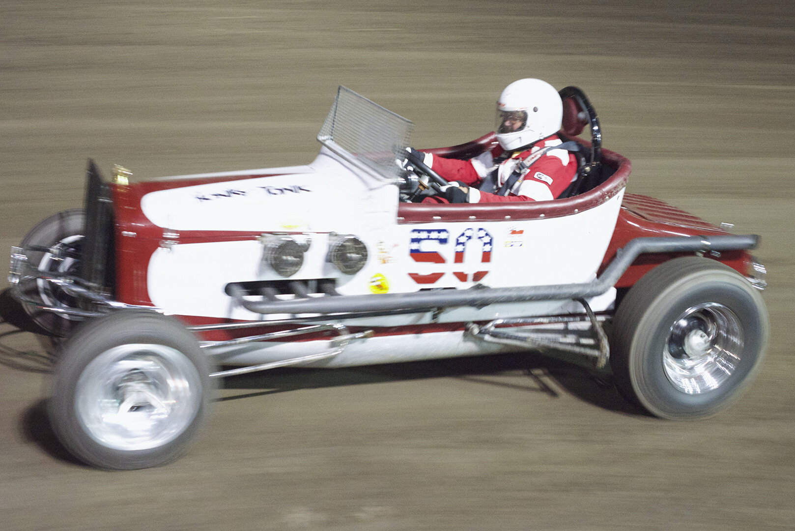 Vintage track roadster in action. These were made from Ford Model T roadsters and were very popular in their day.