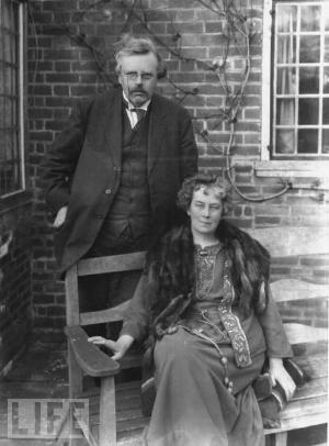 Frances Chesterton with G.K. Chesterton.