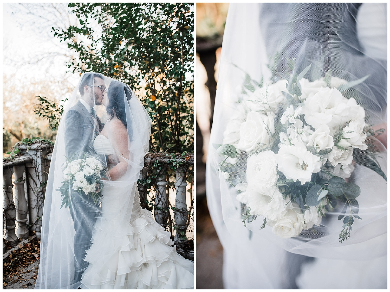 Bride and groom shot inside the veil