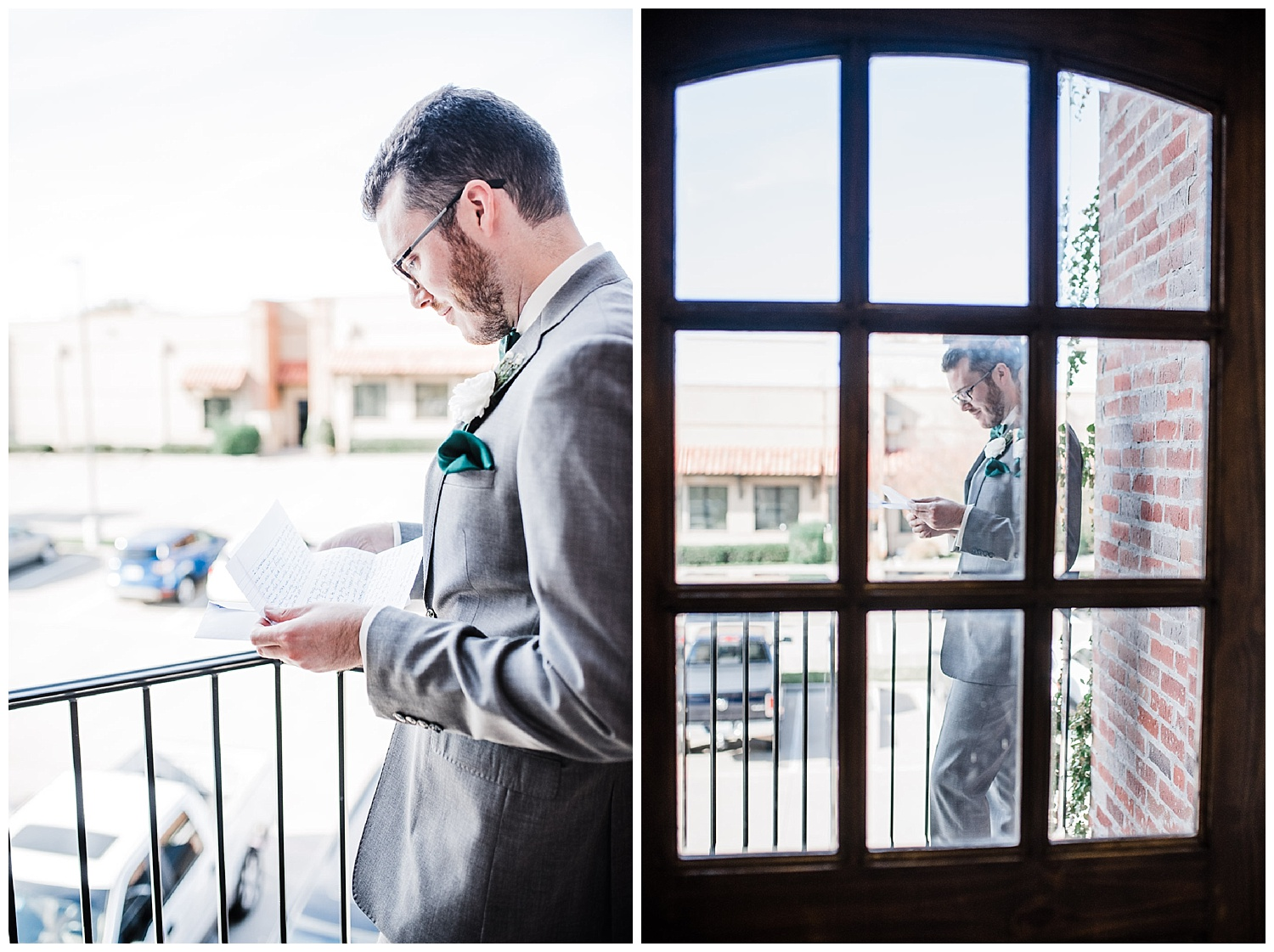 Groom reads his letter from his soon to be wife before the ceromony