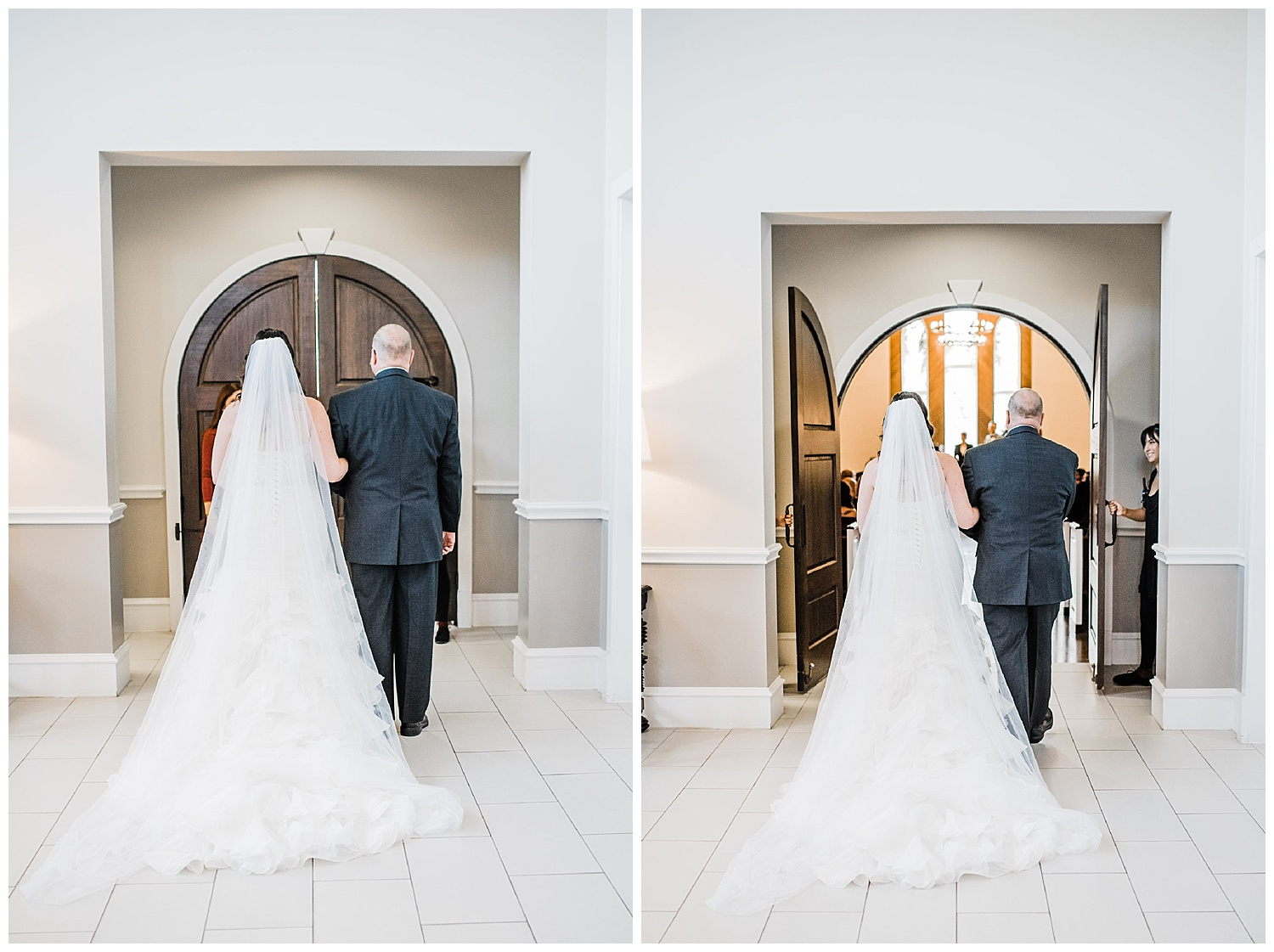 Father of the bride walking her down the isle