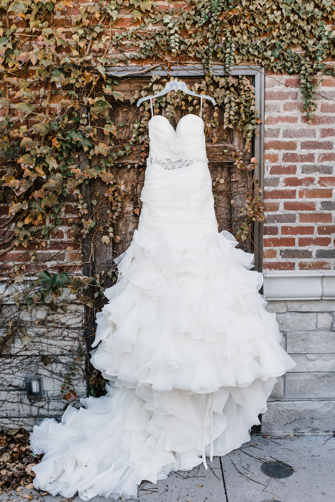 Beautiful Wedding gown hung on vines at the Windsor Park