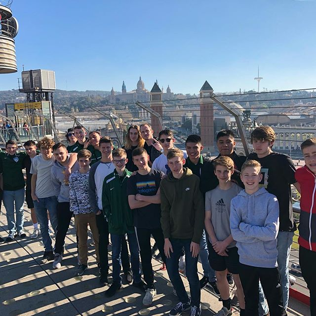 ESS welcomes the Kelly Walsh High School Trojans to Barcelona for their 9 day tour with us. This fantastic group of players and coaches enjoyed their first day with a visit to FC Barcelona's Joan Gamper Training Ground, lunch in Plaza España, and a night at the Camp Nou as FC Barcelona defeated Real Vallodolid 1-0.