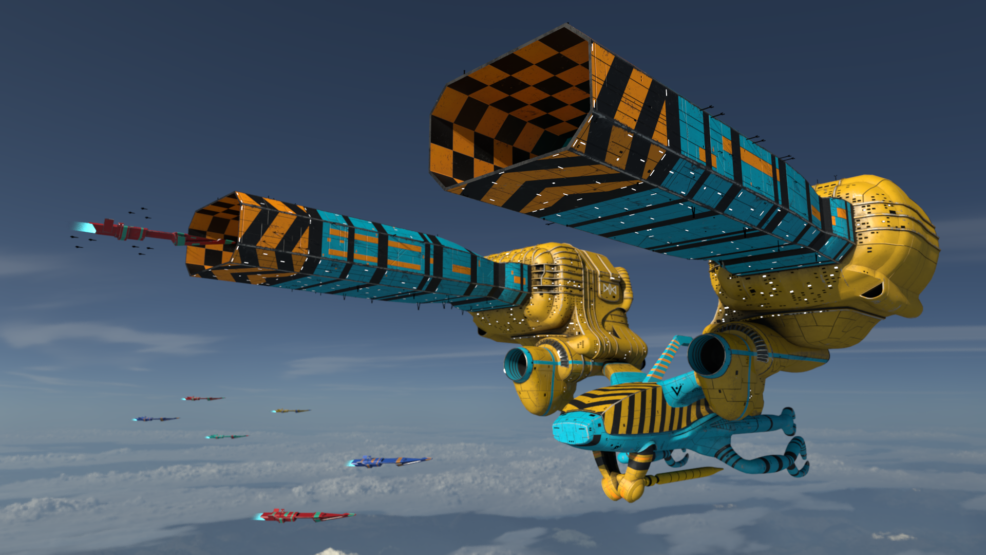 Guild Tug  - based on a ship design by Chris Foss   Tools:  Maya, Substance Painter, Photoshop, Renderman  Production Time:  2 weeks