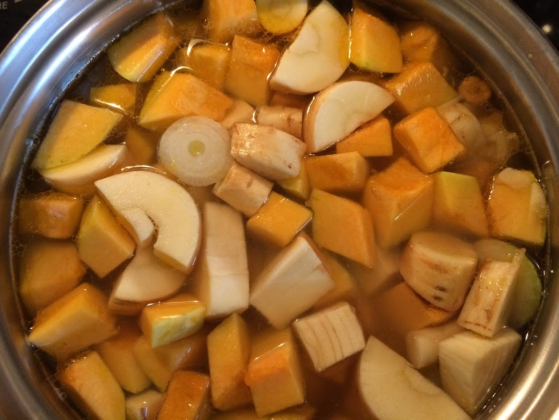 Cut up your vegetables like so and place in a pot to simmer.