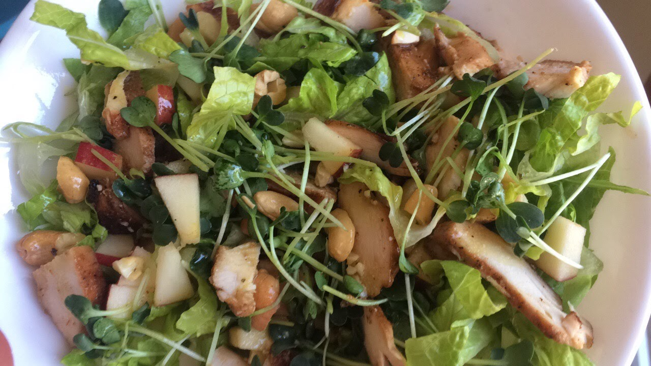 Apple cashew microgreen salad with leftover grilled chicken