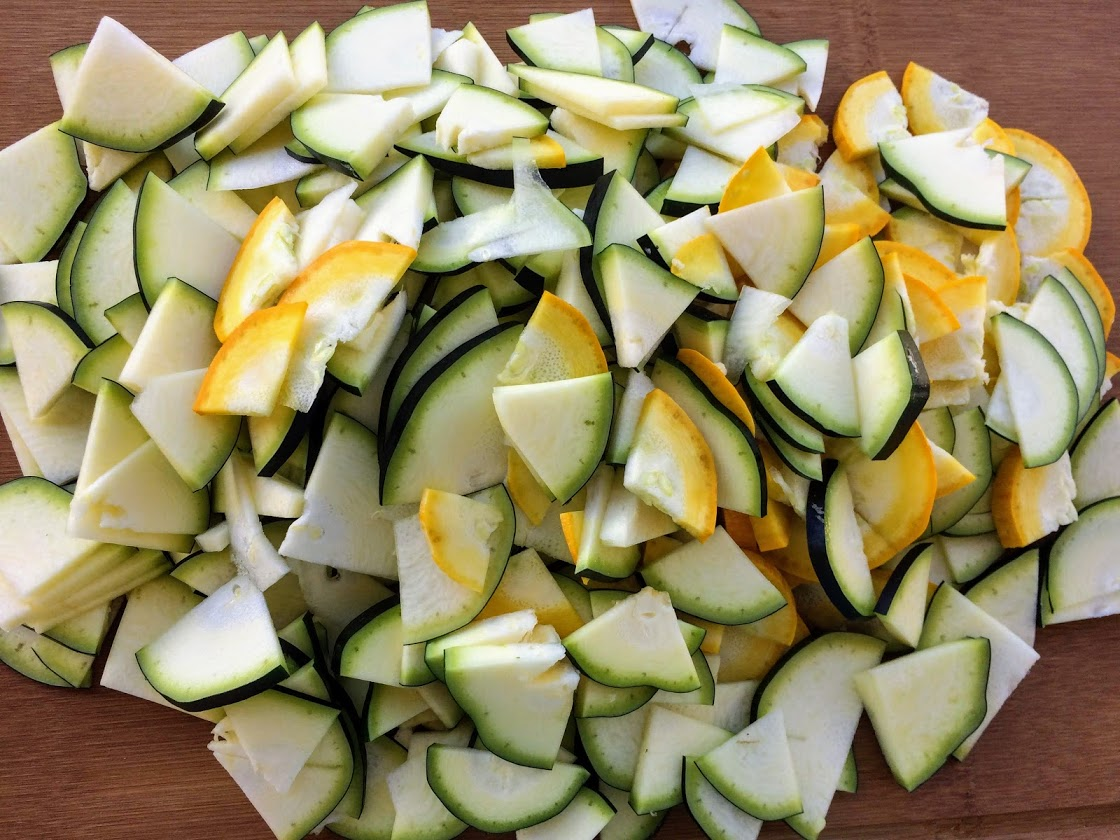 I cut my summer squash into quarters lengthwise and then 1/8 inch thick slices.