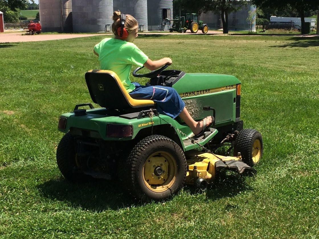 Ella was promoted to the job of lawn mowing for the first time at the age of 12. Just in time to take over while Ben and Sara are in Japan for the month as foreign exchange students!