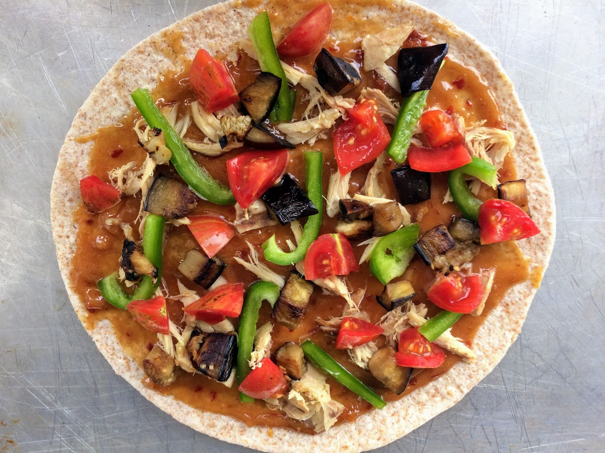 Tortilla + Thai pizza sauce + toppings