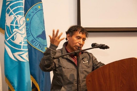 Don José telling his story during the International Mental Health Day in Guatemala City