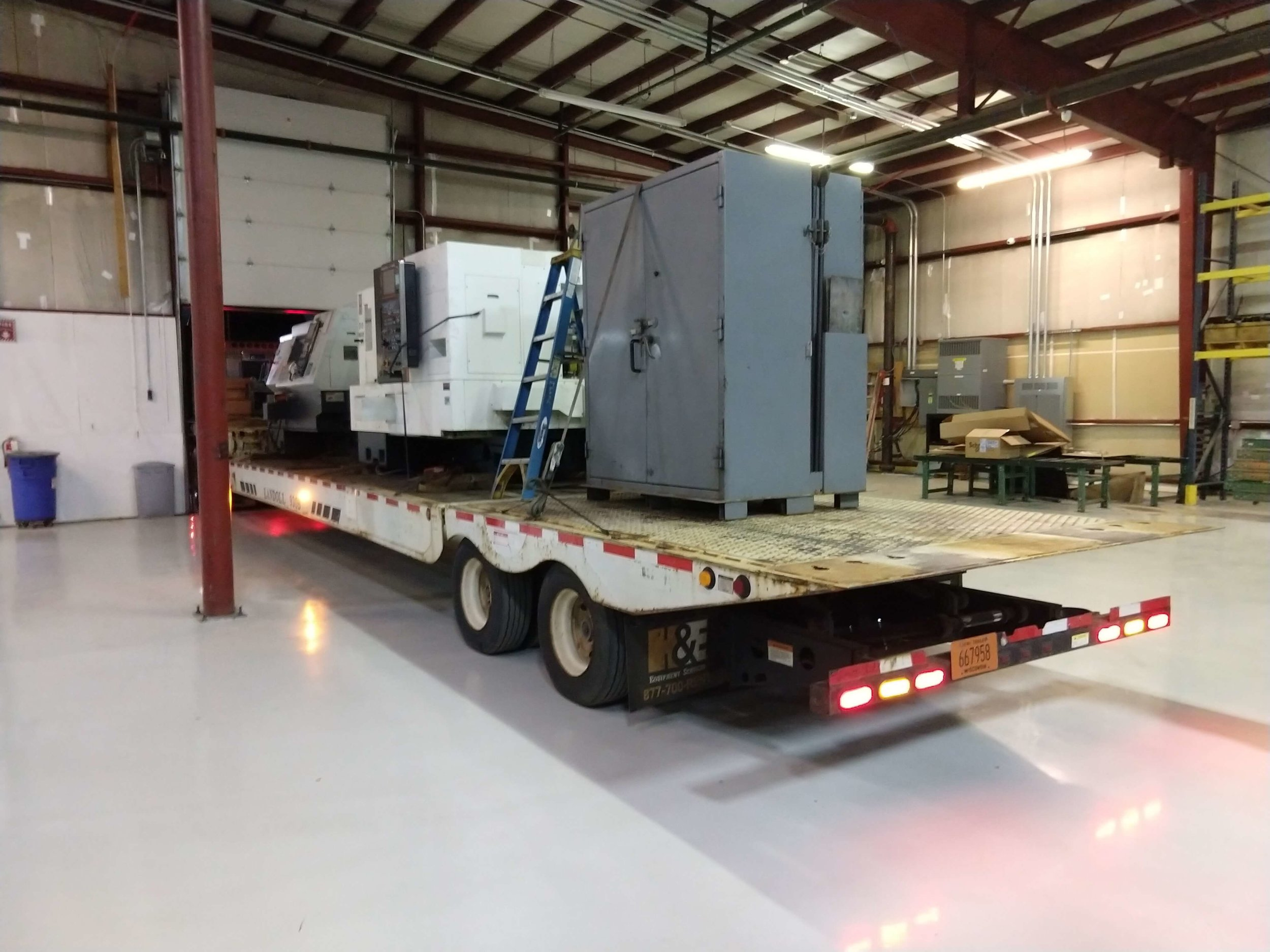 CNC lathes being moved in from the previous shop.