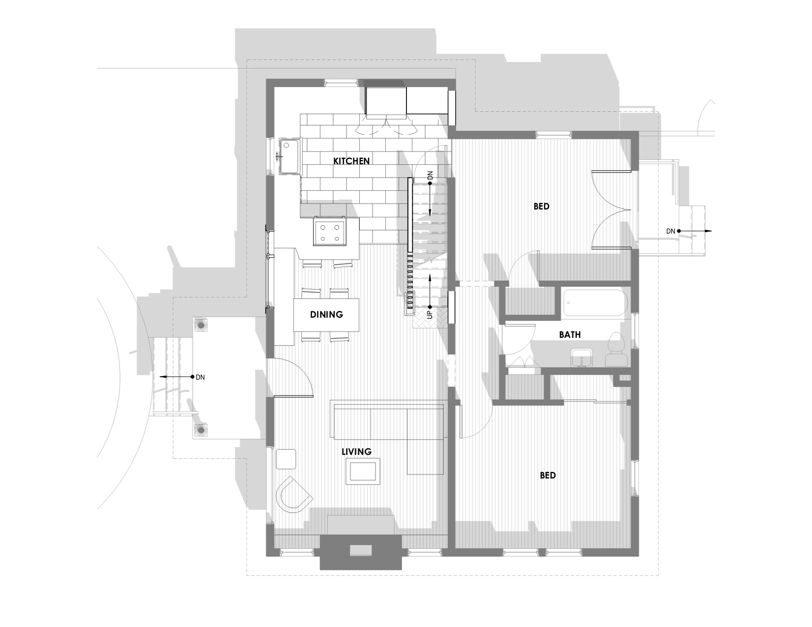 Harka Architecture Rose City Park Kitchen Plan Shadows