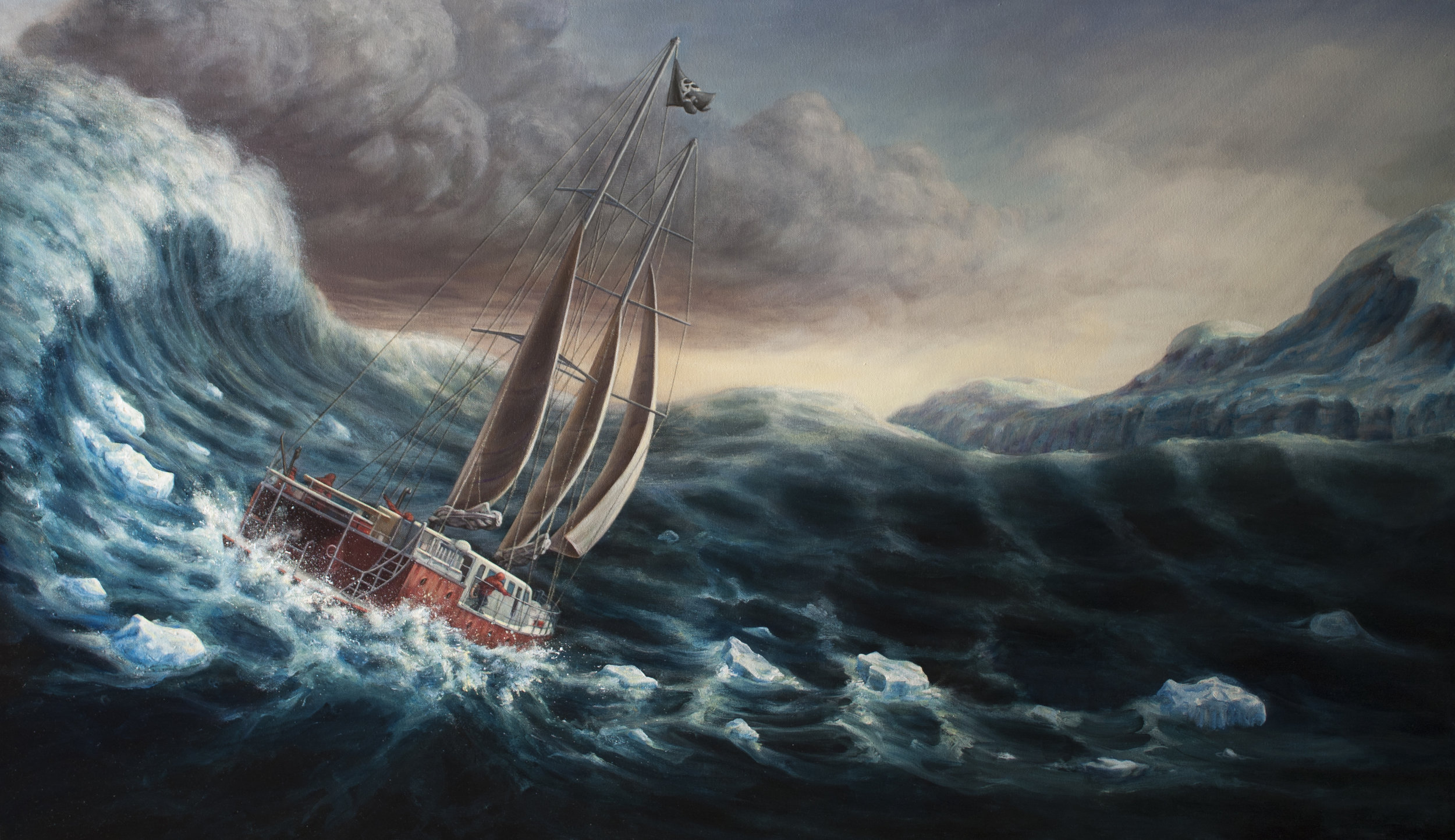 "Sea Gypsies (Illustration for film poster)  28"" x 48""  Oil on Canvas  2015"